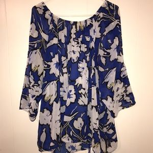 Floral blouse with royal blue tank top